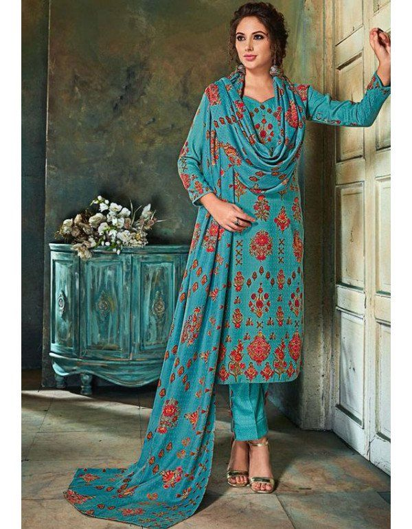 fa476693fd Winter Special Sea Blue Pashmina Suit | Casual Salwar Kameez in 2019 ...