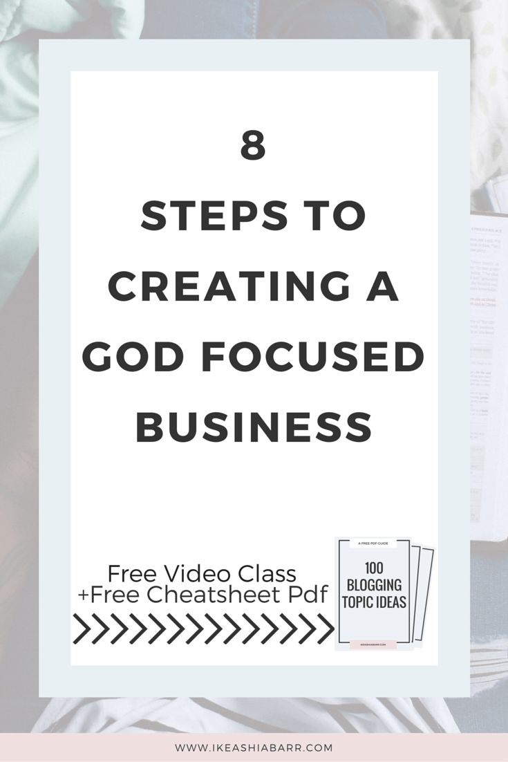 8 Steps To Creating A God Focused Business   Ikeashia You're at a crossroads.  You love your business but you're tired of spending your whole life consumed with work. The more you work the more you feel burnt out, uninspired and far away from God. You've chased the money, you've been recognized, but nothing seems to satisfy the emptiness.  After trying everything from new marketing tactics to listening to all the self-help gurus somehow, you ended up here…CLICK READ MORE + GET YOUR FREE PDF