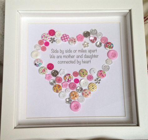 Mother & Daughter Mum Personalised Heart by ButtonsandBobbinsUK
