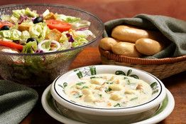 olive garden soup for lunch (2 chicken and Nochi, 1 zuppa toscana, 1 ministroni ) Olive garden bread sticks, make salad at home, have purple onions, olives, tomatoes and crutons, olive garden cheese, and buy olive garden dressing at walmart or gordon food supplies. pour dressing in jello shot glasses with lids and place with a packet 2 packets of cheese. put soup in warming server and breadsticks in warming basket.