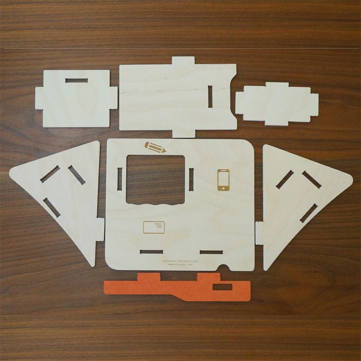 スマホ用マルチホルダー組み立て式。【 送料無料 】 携帯スタンド ホルダー スマホ立て 雑貨 木製 事務所用品 インテリア ペン立て デスク収納 小物 名刺 ペンシルホルダー 文房具