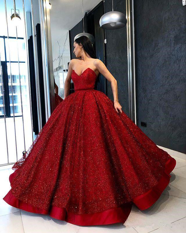 a480c2c0f8 Shiny Deep Red Gothic Princess Wedding Dresses Ball Gown Cinderella Bridal  Gown (eBay Link)