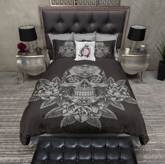 Lightweight Sugar Skull & Silver Rose Pattern on by InkandRags
