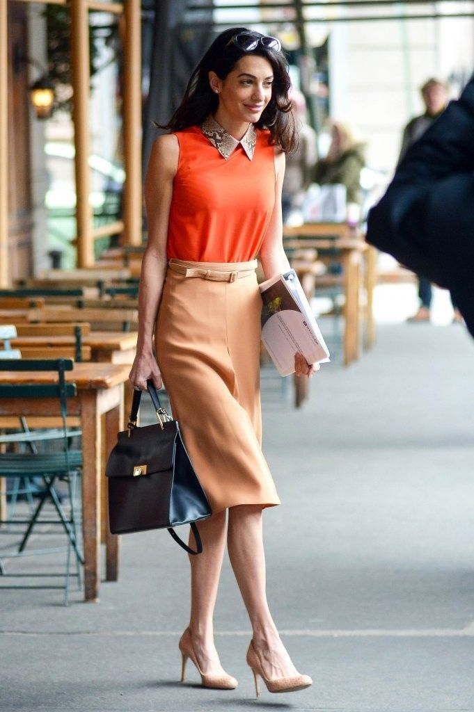 Human rights lawyer and George Clooney's wife Amal Alamuddin is seen leaving Morandi in New York City, New York after enjoying lunch on April 7, 2015. Amal has been busy as of late teaching a series of lectures at Columbia University.