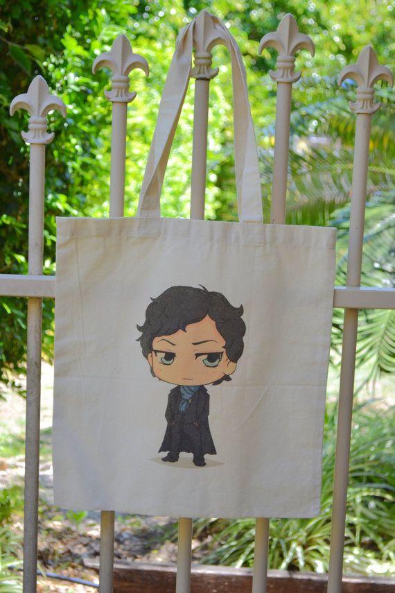 Free Ship Sherlock Cartoon Tote Bag by MurderSheTote on Etsy, $20.00