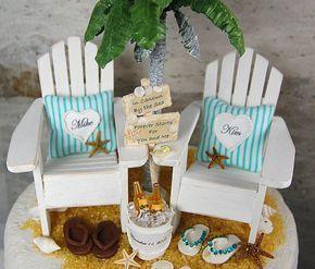Beach Beverage Wedding Cake Topper Custom by Memoriesnminiature On Etsy.com