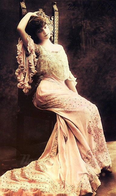~Edwardian woman in beautiful pink dress, postcard 1910