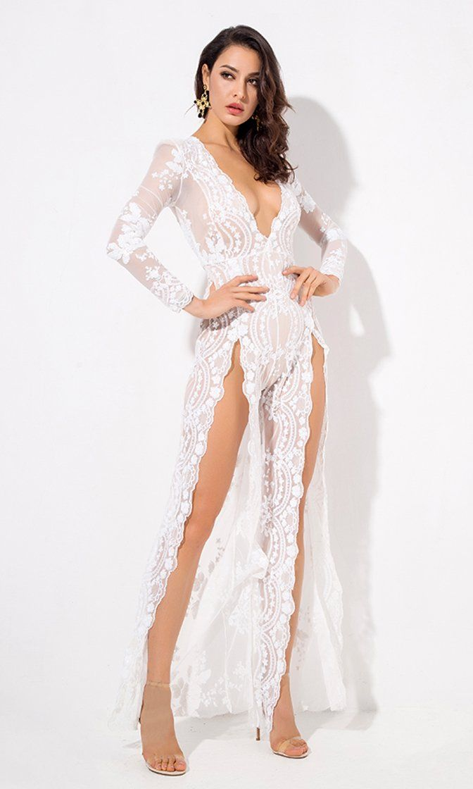 ab4109ee40264 Come Closer White Sequin Floral Pattern Sheer Mesh Long Sleeve Plunge V  Neck Wide Leg Loose Double Slit Jumpsuit