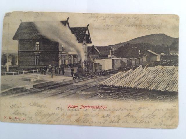 Flisen (Flisa) jernbanestasjon, Solør, Hedmark fylke tidlig 1900-tall.