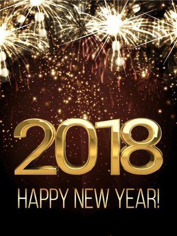 shining new year fireworks card 2018