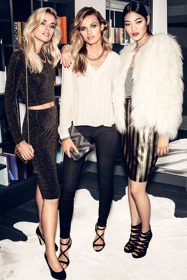 Radiate in sparkly black coordinates, a white faux fur jacket, or sequin skirt. | Party in H&M