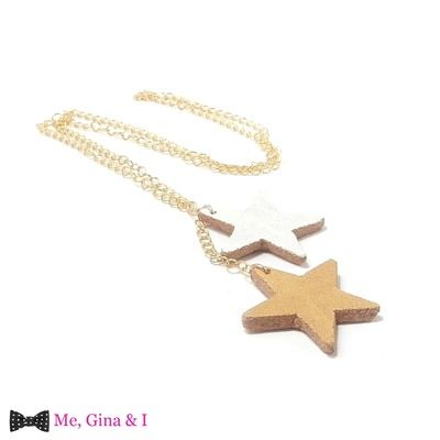 Gold & white stars long pendant made of cork.