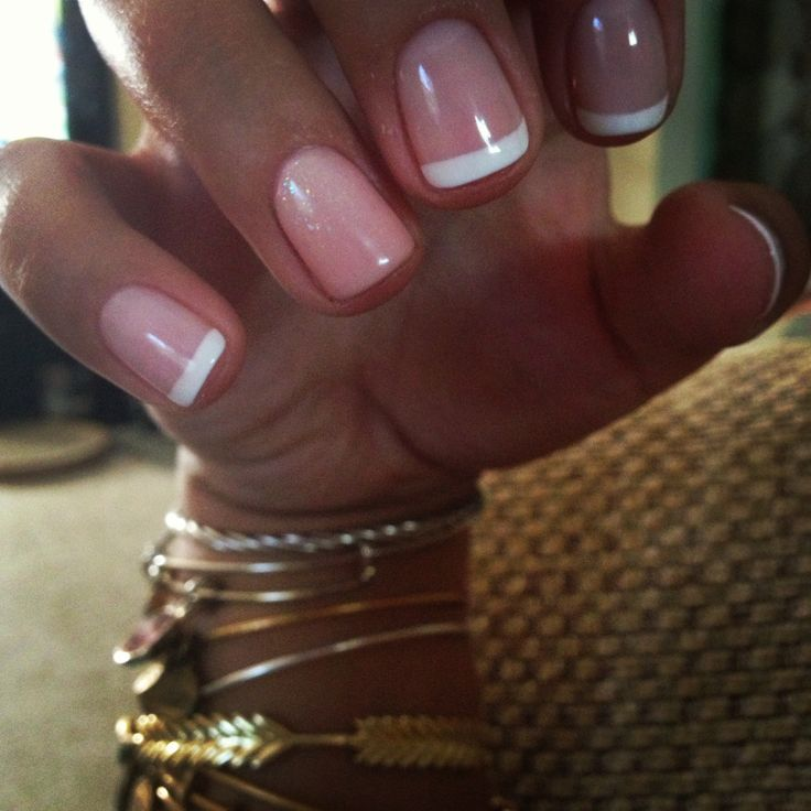 French shellac manicure with an ombré sparkle nude nail