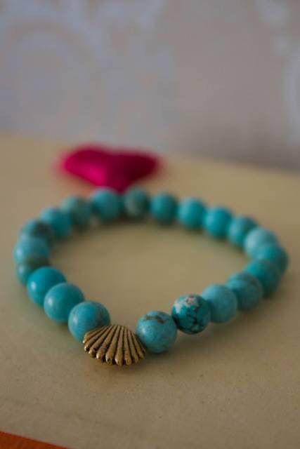 Yoga bracelets turquoise howlite with vintage Shell charms and dark fuchsia  sari silk tassel