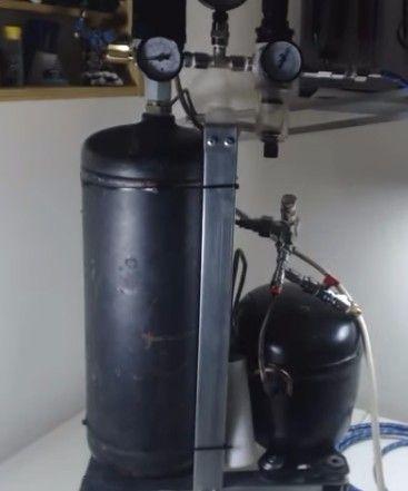 Silent Air Compressor by Kostasiii Miniatures -- Homemade silent air compressor constructed from a refrigerator compressor, an air tank, pressure switch, and regulator. http://www.homemadetools.net/homemade-silent-air-compressor-2