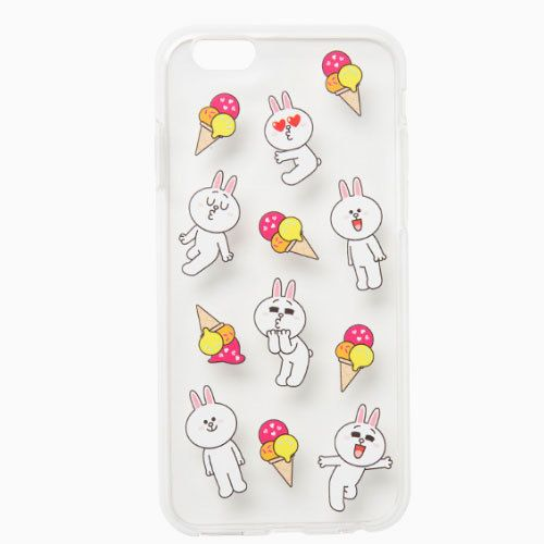 Line Friends Cony Ice Cream iPhone 6 6s Jelly Clear Fitted Case Skin Cover #NaverLineFriends