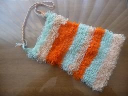 Handmade crochet bag turquoise, beige, and orange.$15.00