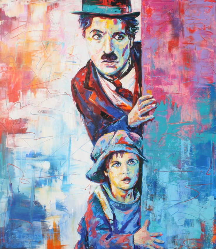 """Charlie Chaplin and the Kid, 48""""x54"""", 1219mmx1371mm, Acrylic. SOLD"""