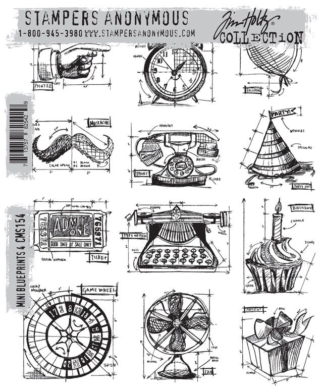 New Stampers Anonymous Tim Holtz: BluePrint Stamps #CHAShow
