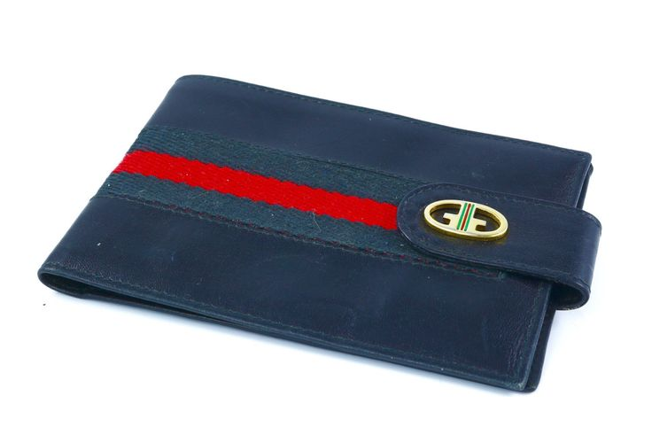Italian Vintage #Gucci blue leather check holder with golden closure 70s /Vintage Italiano Porta assegni pelle blu Gucci con chiusura dorata by ItalianVintageFamily su Etsy