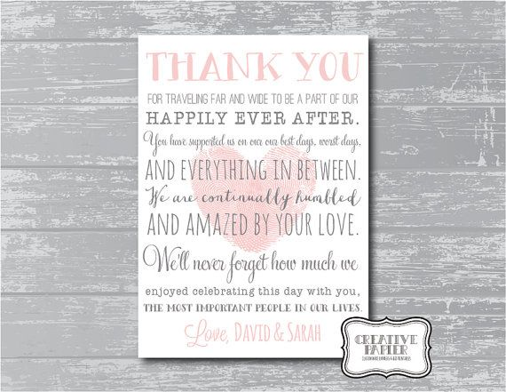 Thank You sign for wedding  Custom Thank You Poem Wedding Signage Printable  by CreativePapier, $10.00