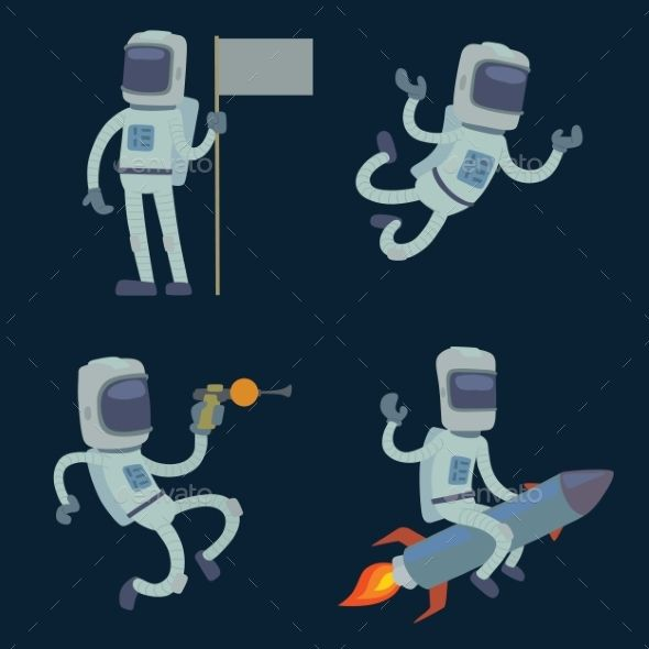 Set of Cute Astronauts in Space, Working