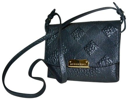 Burberry Black Leather Signature Check Embossed Petite Shoulder Bag - Tradesy