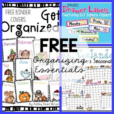Free monthly calendars, monthly binder covers, and days of the week labels to keep you organized.
