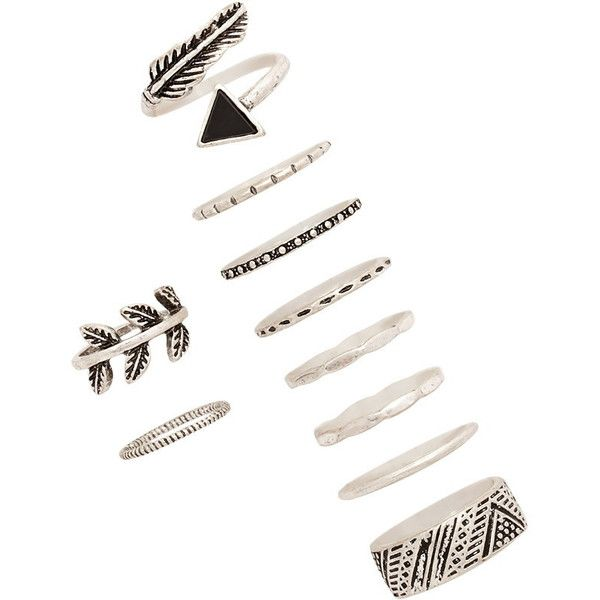 Forever 21 Burnished Feather Ring Set (£4.89) ❤ liked on Polyvore featuring jewelry, rings, midi rings, mid-finger rings, band jewelry, mid knuckle rings and stone jewelry