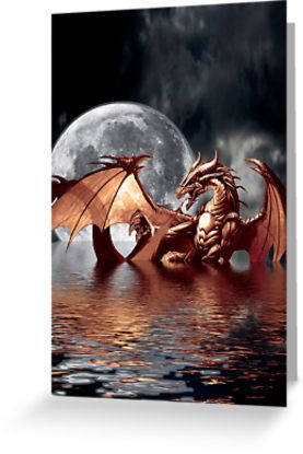 Dragon Moon Fantasy Art Design by Val  Brackenridge. 2,05e