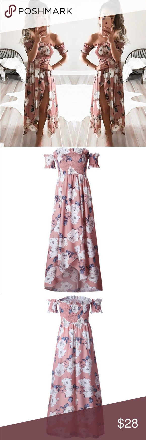 Boho Floral Off Shoulder Maxi Dress Rose Pink Brand new, no tags. Boutique item.  Please Compare Your Size With Following Measurement Before Purchasing.   Material: 100% Polyester.  Size M: Bust 25~36in, stretch flexible, back side length appr. 47.5in.                                                                    Size L: Bust: 27~38in, stretch flexible; Back Side Length: appr. 48in.   Color: Rose pink. Dresses Maxi