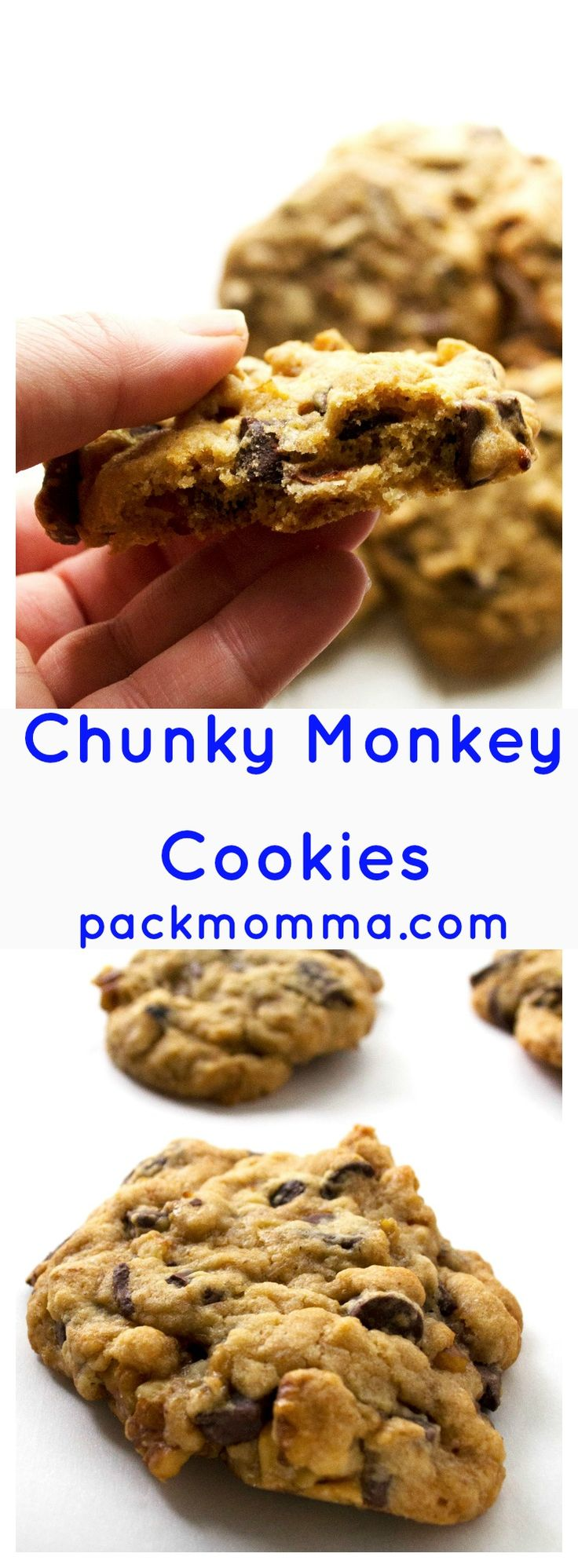 Chunky Monkey Cookies | Chunky Monkey Cookies are ice cream inspired and cookie perfected. Soft baked banana cookies with dark chocolate chunks and tons of walnuts.. Perfection! | Pack Momma