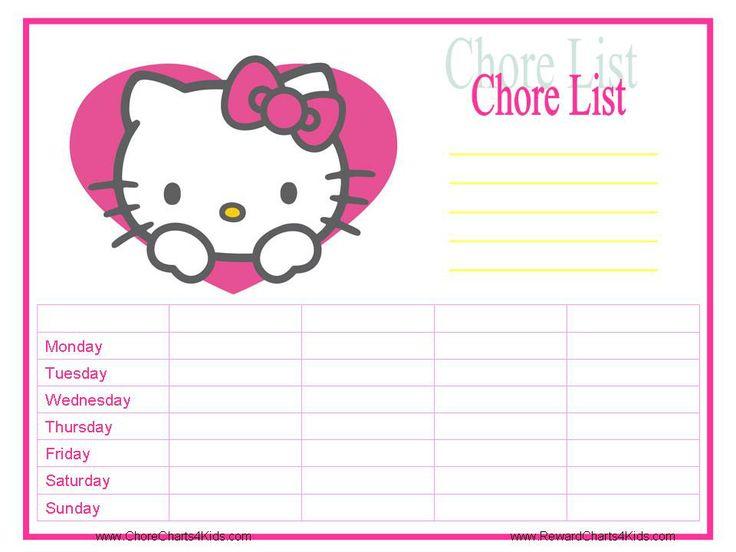 Hello Kitty Chore Chart Printable | Printables | Pinterest