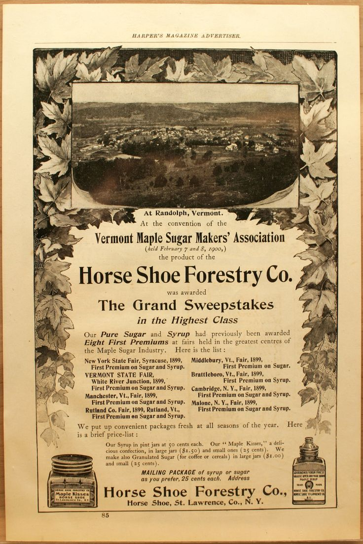 HORSE SHOE FORESTRY CO. NY, HARPER'S MAGAZINE ADD. I HAVE SOME MAPLE SYRUP GLASS BOTTLES FROM THEM Part of My Collection, Sorry Not For Sale. Eye Candy for All of You Interested & Collectors to enjoy. You can see more Here on Etsy, or We do sell items shown here and are always adding new items for sale in our shop on Etsy. Take a peek. Comments welcome.