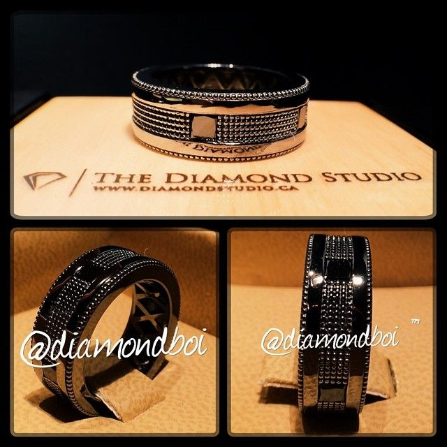 This band was made in black gold and features 5 princess cut diamonds spread out evenly around the band. Added some beading to give it some character.  #groomsjewelry #blackgold #thediamondstudio
