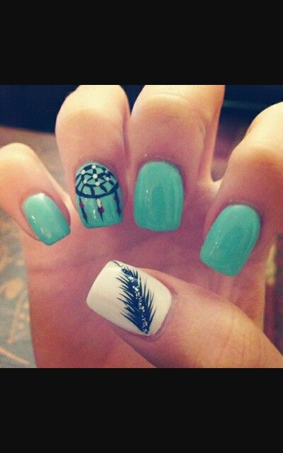 Dream catcher and feather | Feather nails, Fake nails ...