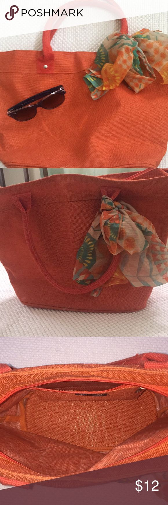 🌀BURNT ORANGE BURLAP TOTE🌀 Fun burlap tote with plastic lining inside and zippered pocket.   Cotton shoulder straps.  Use while running errands or for a beach bag! Charlie Paige Bags Totes
