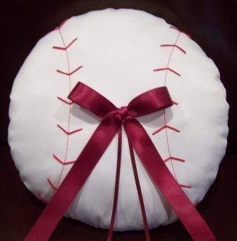 Baseball Ring Bearer Pillow. $68.00, via Etsy.thiscould go inside the baseball mitt..rings tie to the thin ribbon.