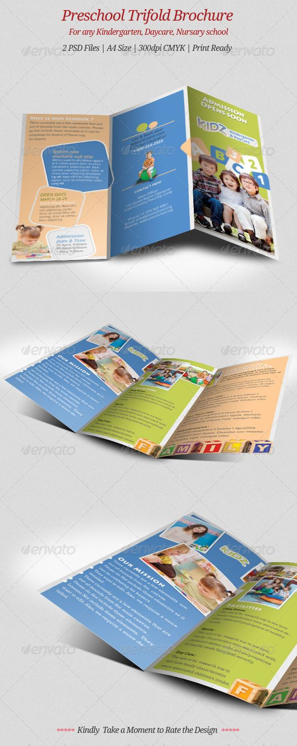Preschool trifold brochure brochures preschool and for Preschool brochure template