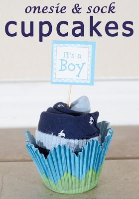 Onesie & sock cupcakes -- really cute and easy to make!! much less of a commitment than the diaper cake