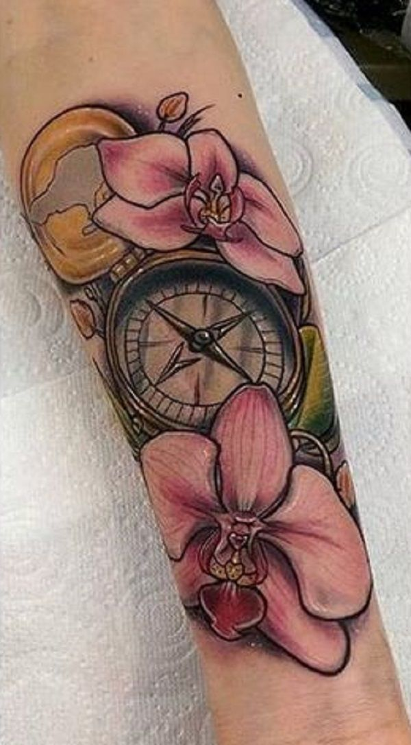 3f4890e62 Meaningful Orchid Tattoo Design. This forearm tattoo combined with the  compass is truly meaningful.