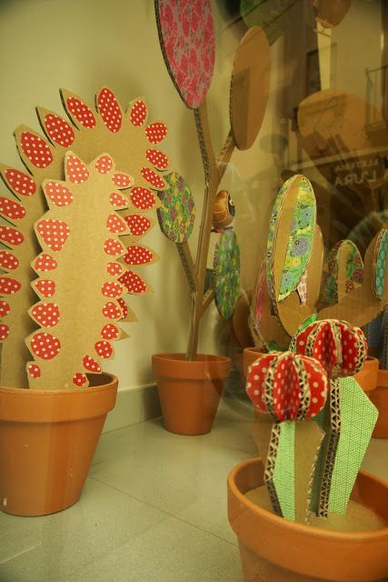 cardboard cacti for hallway decoration