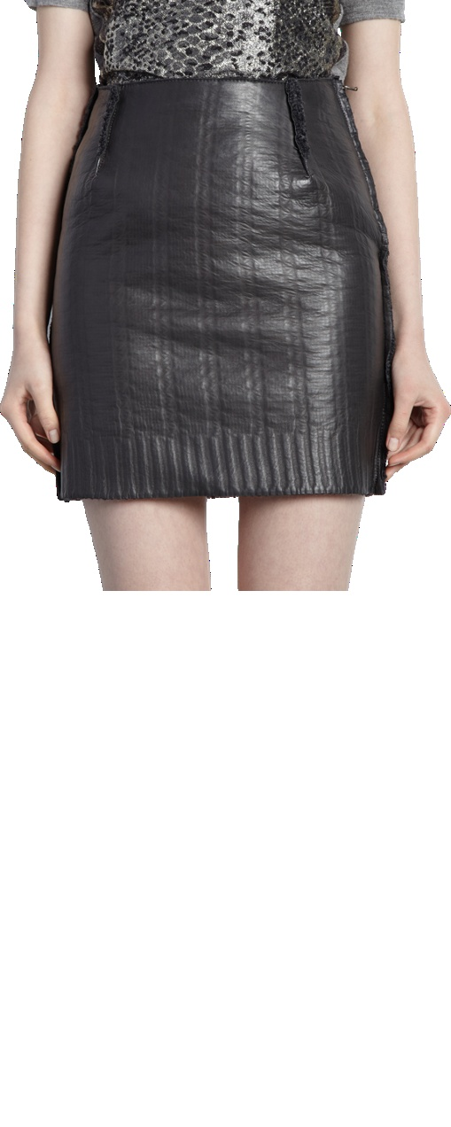 leather skirt embossed with sweaterknit pattern leather