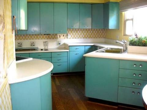 1950's Mid Century Aqua steel kitchen cabinets for sale. Made by Geneva. Tell me, who the hell takes out this kind of amazing kitchen anyway????