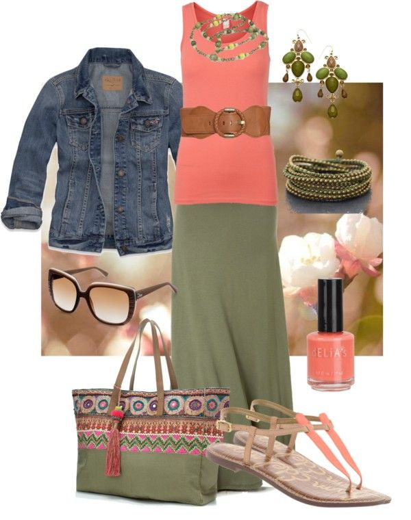 """olive maxi skirt and coral tank."" by peridotpixie on Polyvore"