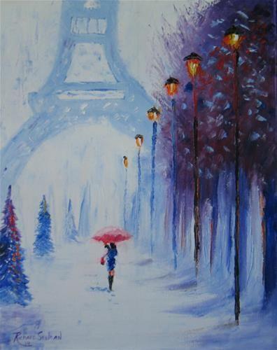 Christmas in paris original fine art for sale for Original fine art paintings for sale