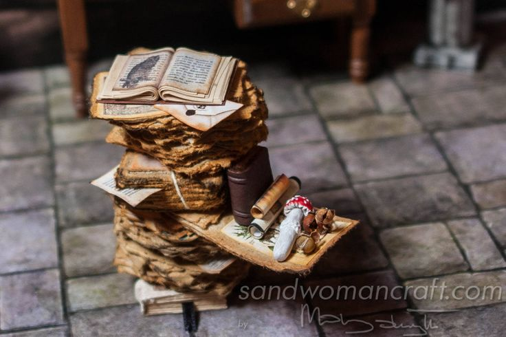 1:12 scale Dollhouse miniature pile of aged papers miniature open book, two leather books, scrolls, vintage illustrations,mushroom toadstool by SandwomanCraft on Etsy