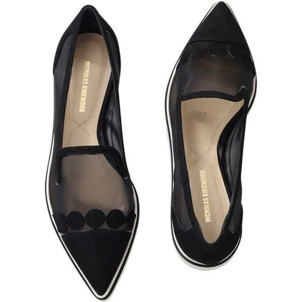 Nicholas Kirkwood Quantum Alona Microsole Loafer (18,500 THB) ❤ liked on Polyvore featuring shoes, loafers, flats, black, flat shoes, black pointy toe flats, black flats, black loafers and black shoes
