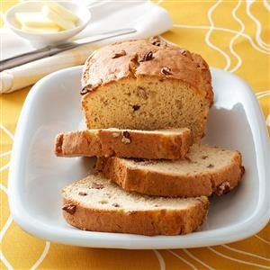 Easy Banana Nut Bread Recipe -A yellow cake mix streamlines assembly of this moist golden bread. I searched a long while for a banana bread that was easy to make. This one takes no time at all, and makes two loaves. —Marie Davis, Pendleton, South Carolina