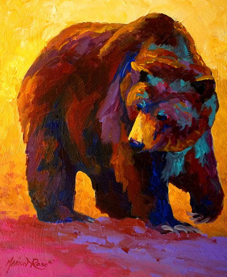 My Fish - Grizzly Bear Painting by Marion Rose - My Fish - Grizzly Bear Fine Art Prints and Posters for Sale